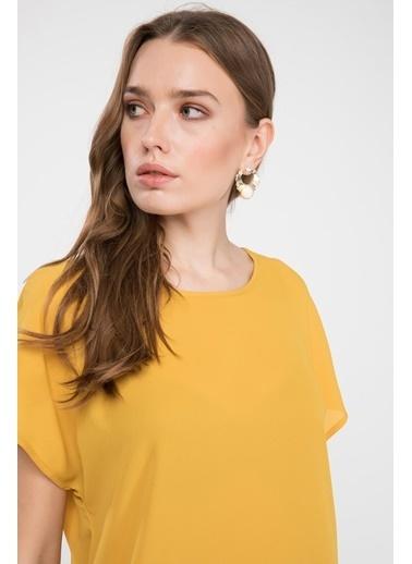 DeFacto Desenli Bluz Sarı